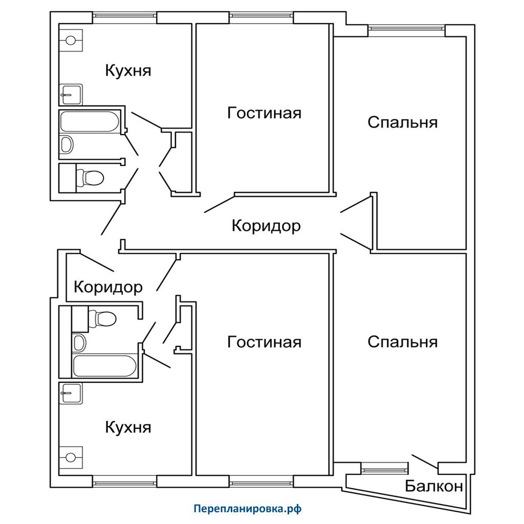 Планировка трехкомнатной квартиры (вариант 2) ii-57, вариант.