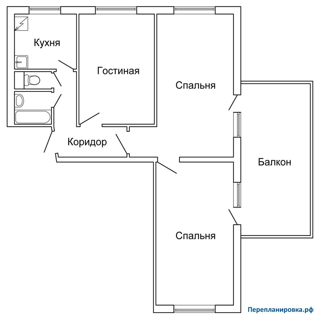 Планировка трехкомнатной квартиры (вариант 2) ii-49, вариант.