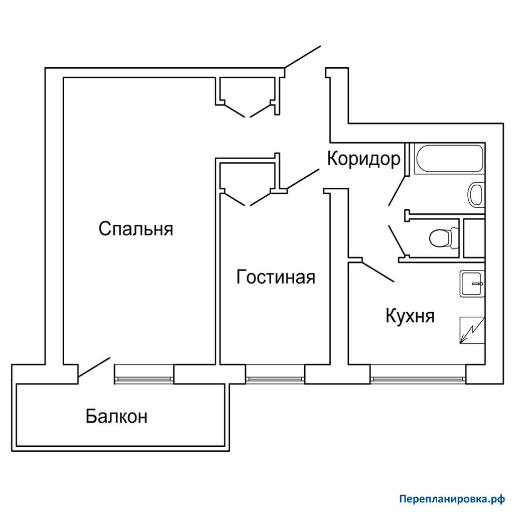 Перепланировка 2 двухкомнатной квартиры и-209а, схема, фото.