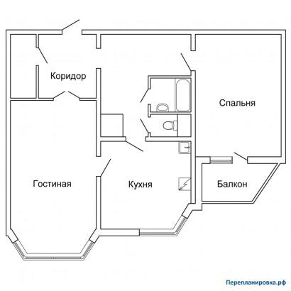 Планировка двухкомнатной квартиры п-44тм/25. варианты перепл.