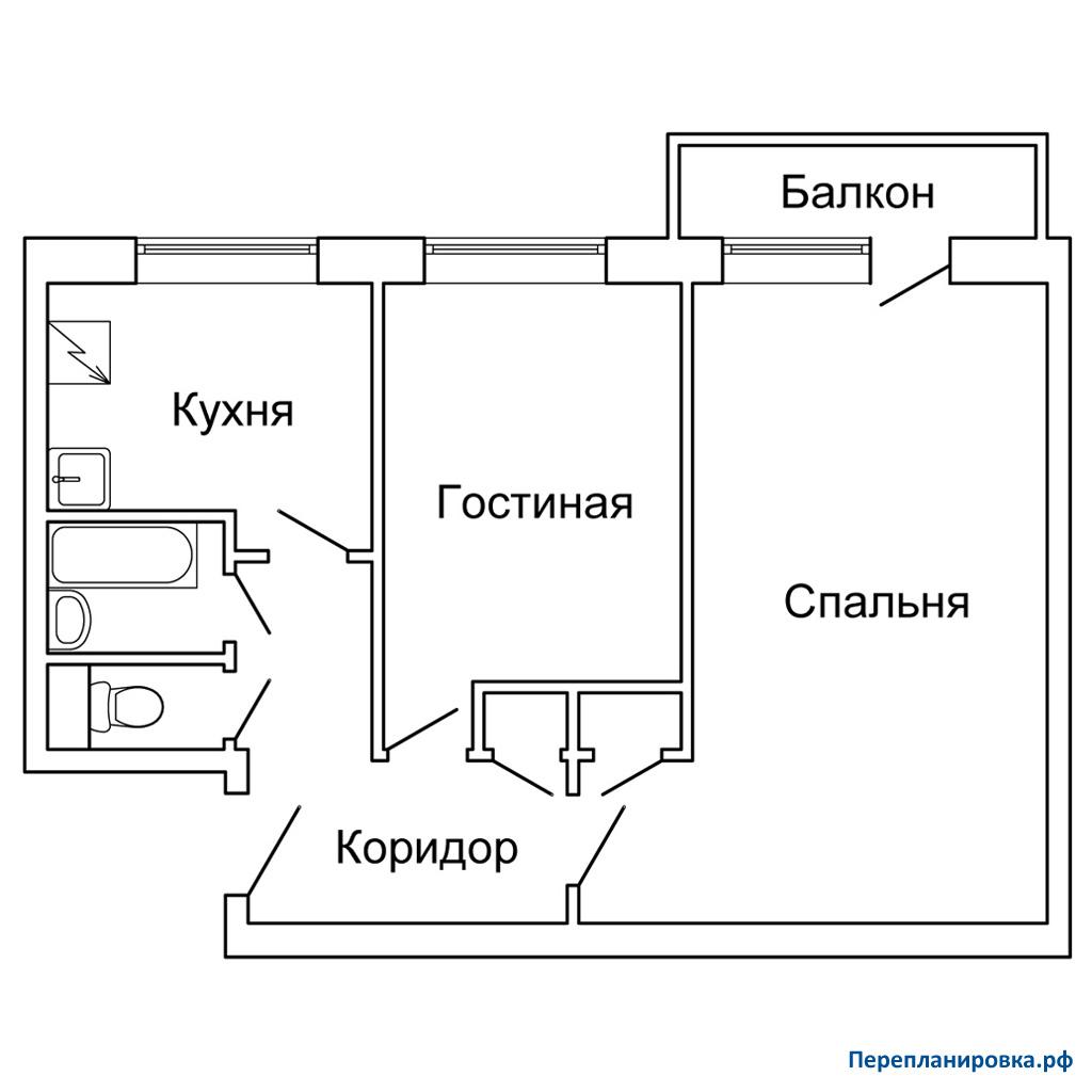 Планировка двухкомнатной квартиры 1-515/9м. варианты перепла.