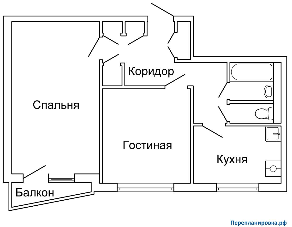 Планировка двухкомнатной квартиры ii-57. варианты перепланир.