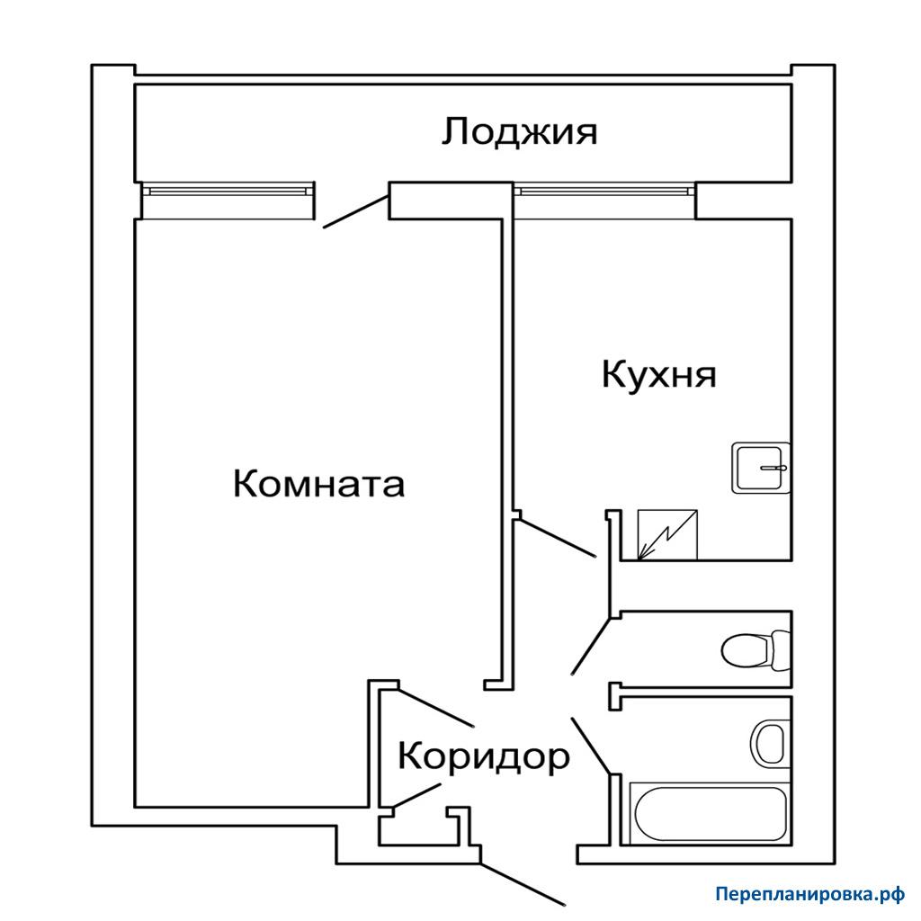 Планировка однокомнатной квартиры с лоджией.
