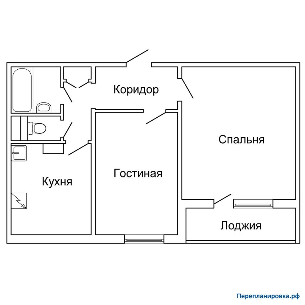 Перепланировка двухкомнатной квартиры п-46, схема, фото.