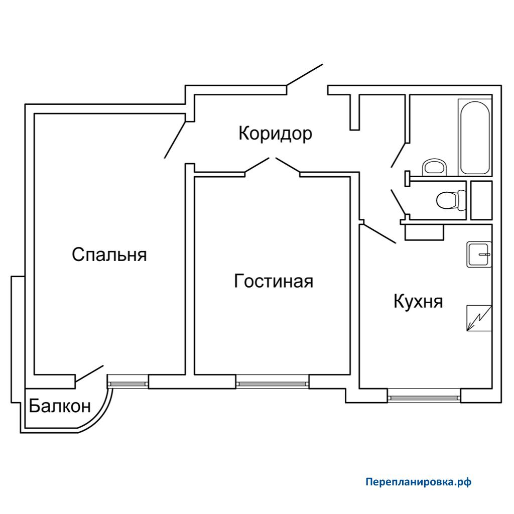 Перепланировка двухкомнатной квартиры дома серии п-3м, вариа.