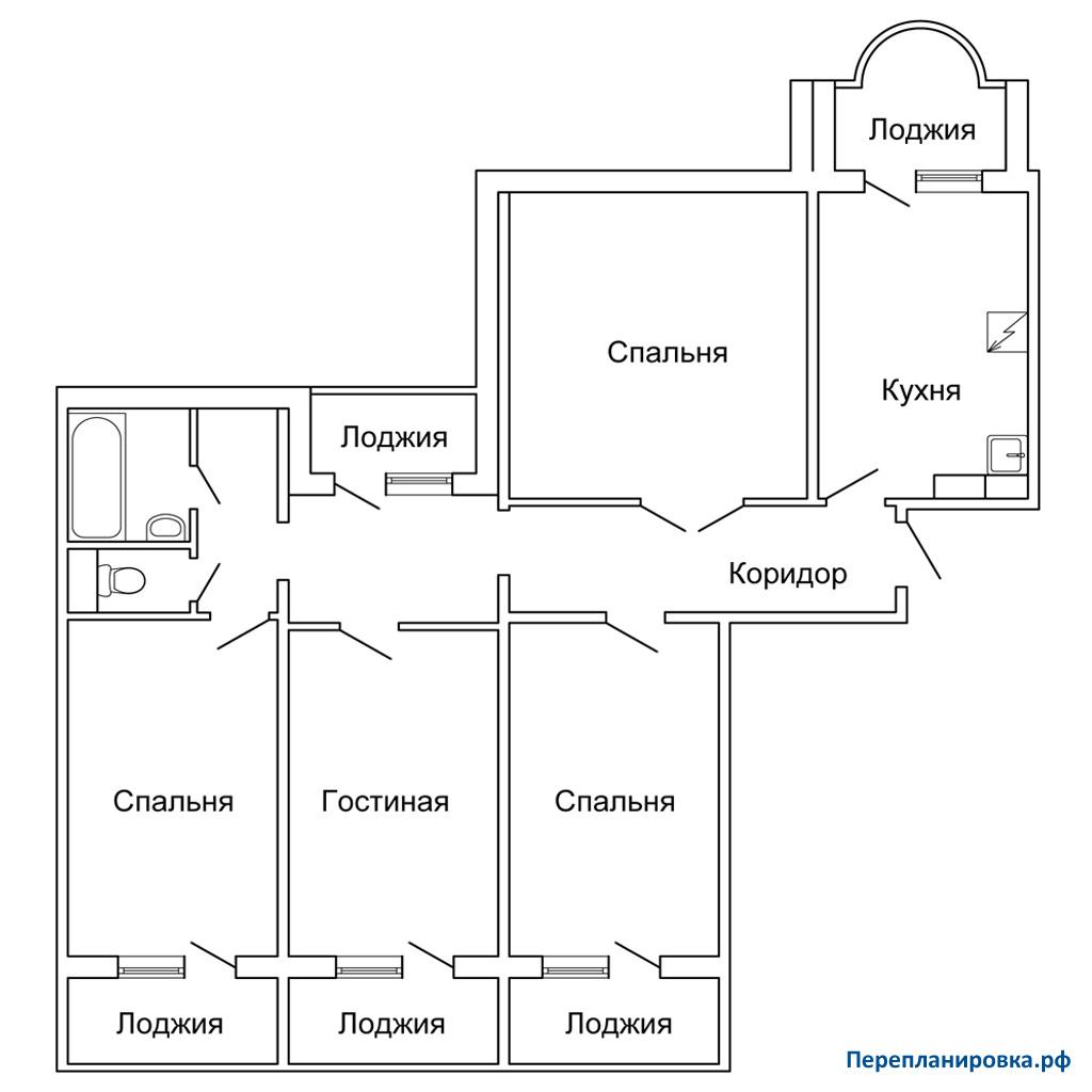 Дом серии п-55 перепланировка 4-комнатной квартиры дизайн.