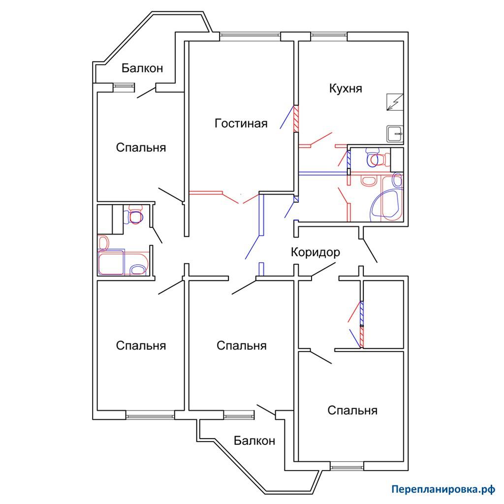Перепланировка пятикомнатной квартиры пд-4, план, фото.