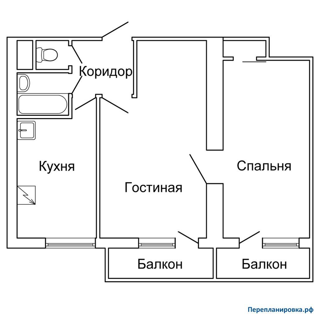 Перепланировка двухкомнатной квартиры ii-18, схема, фото.