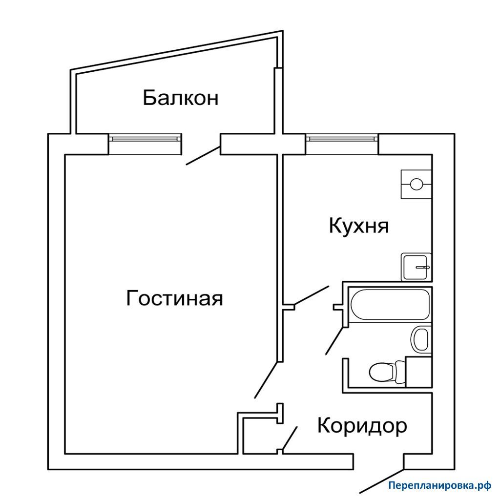 Перепланировка однокомнатной квартиры 1-515/9ш, план, фото.