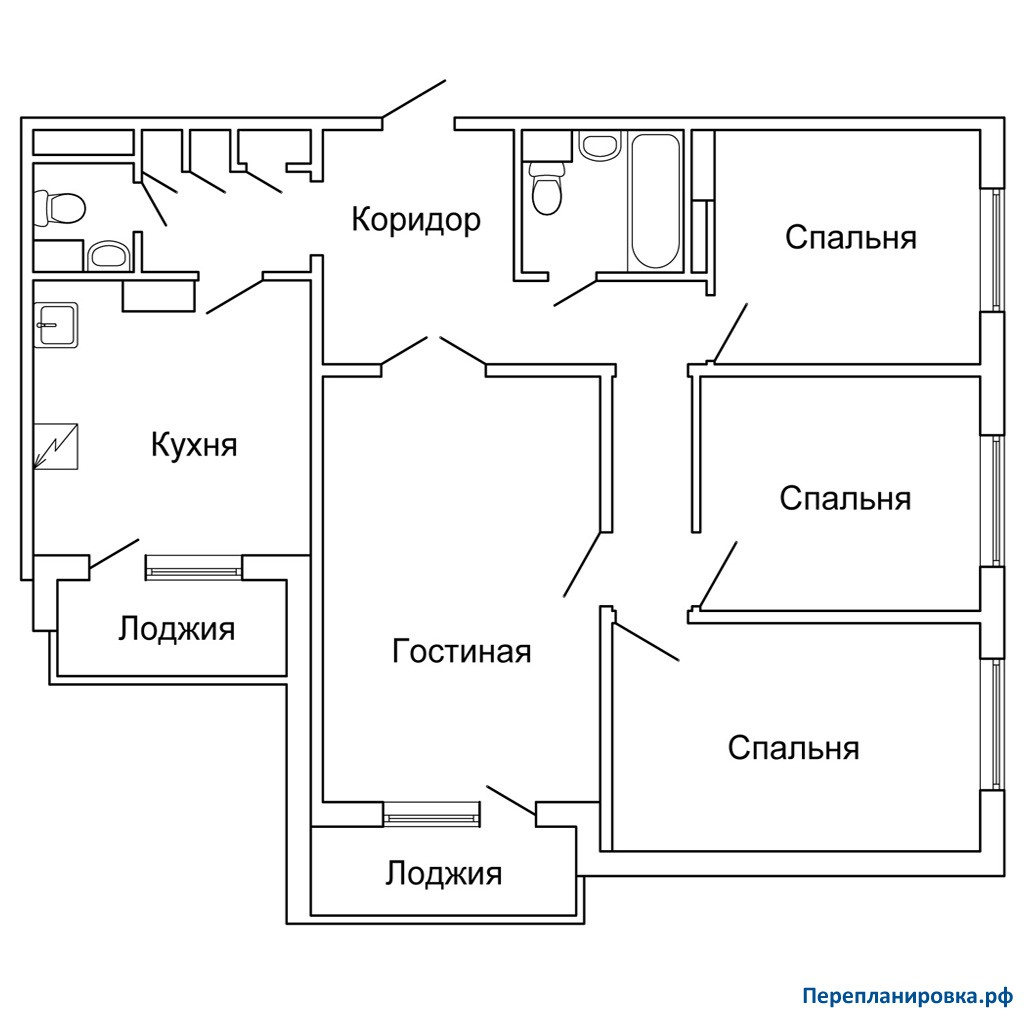 Перепланировка четырехкомнатной квартиры п-42, план, фото.