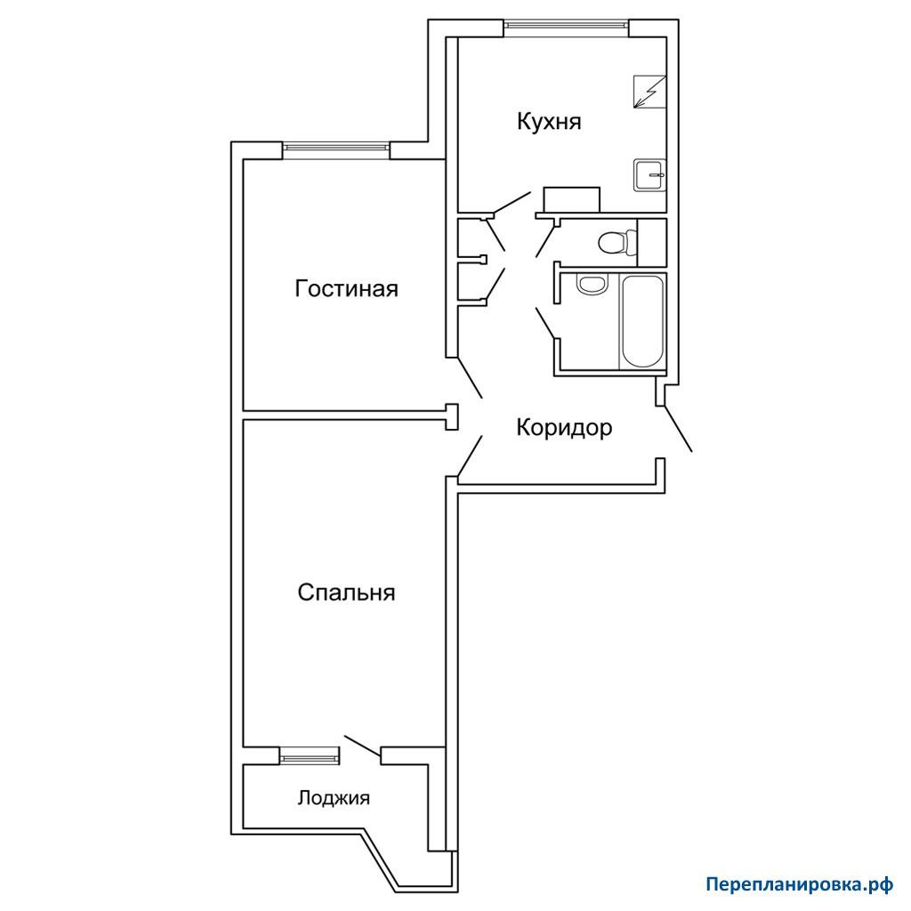 Перепланировка двухкомнатной квартиры: варианты и фото.