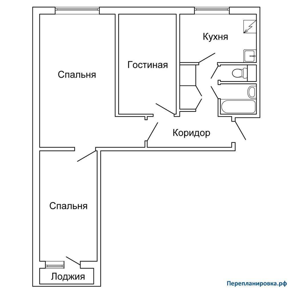 Перепланировка трехкомнатной квартиры 1605ам/12, план, фото.