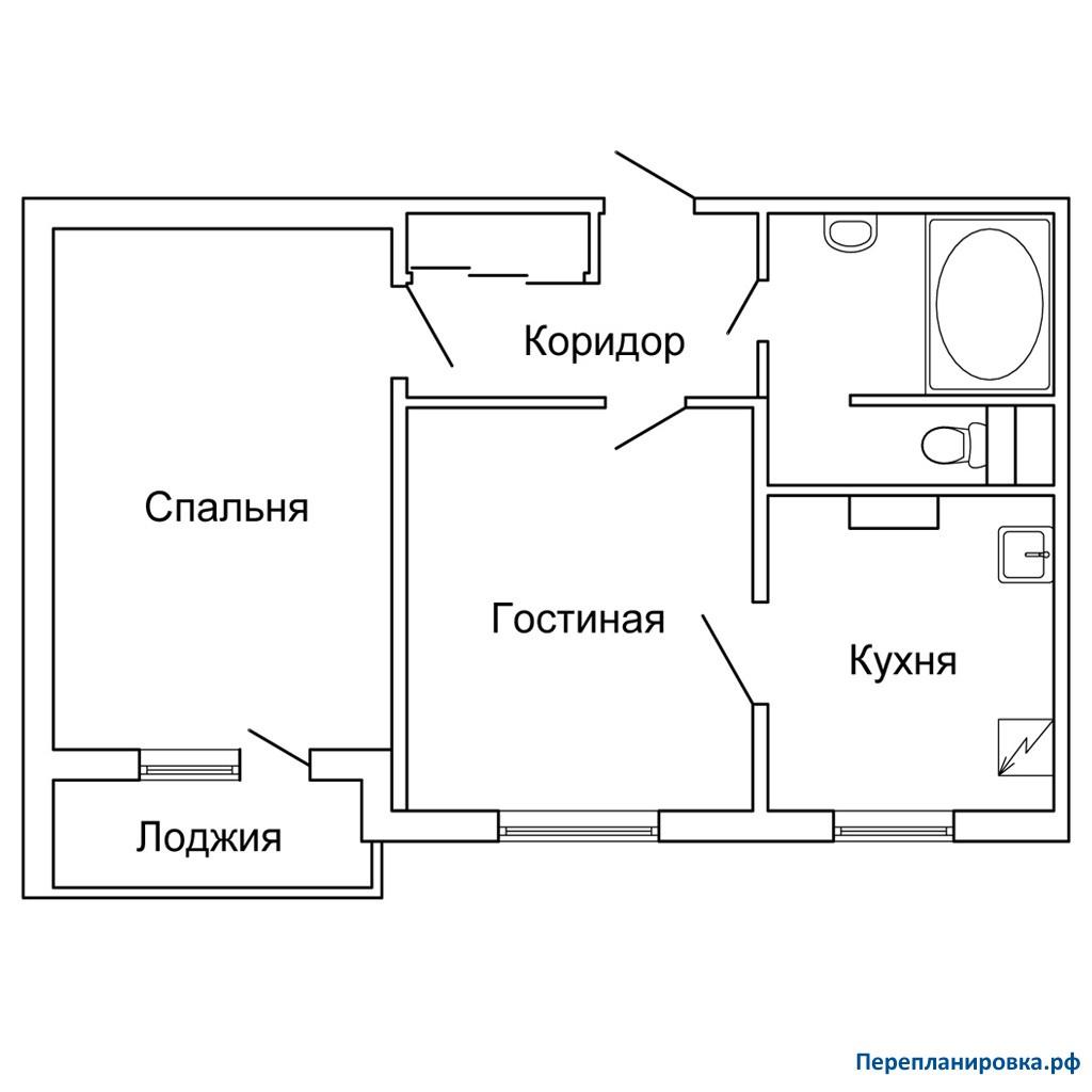 Перепланировка 2 двухкомнатной квартиры п-43, схема, фото.