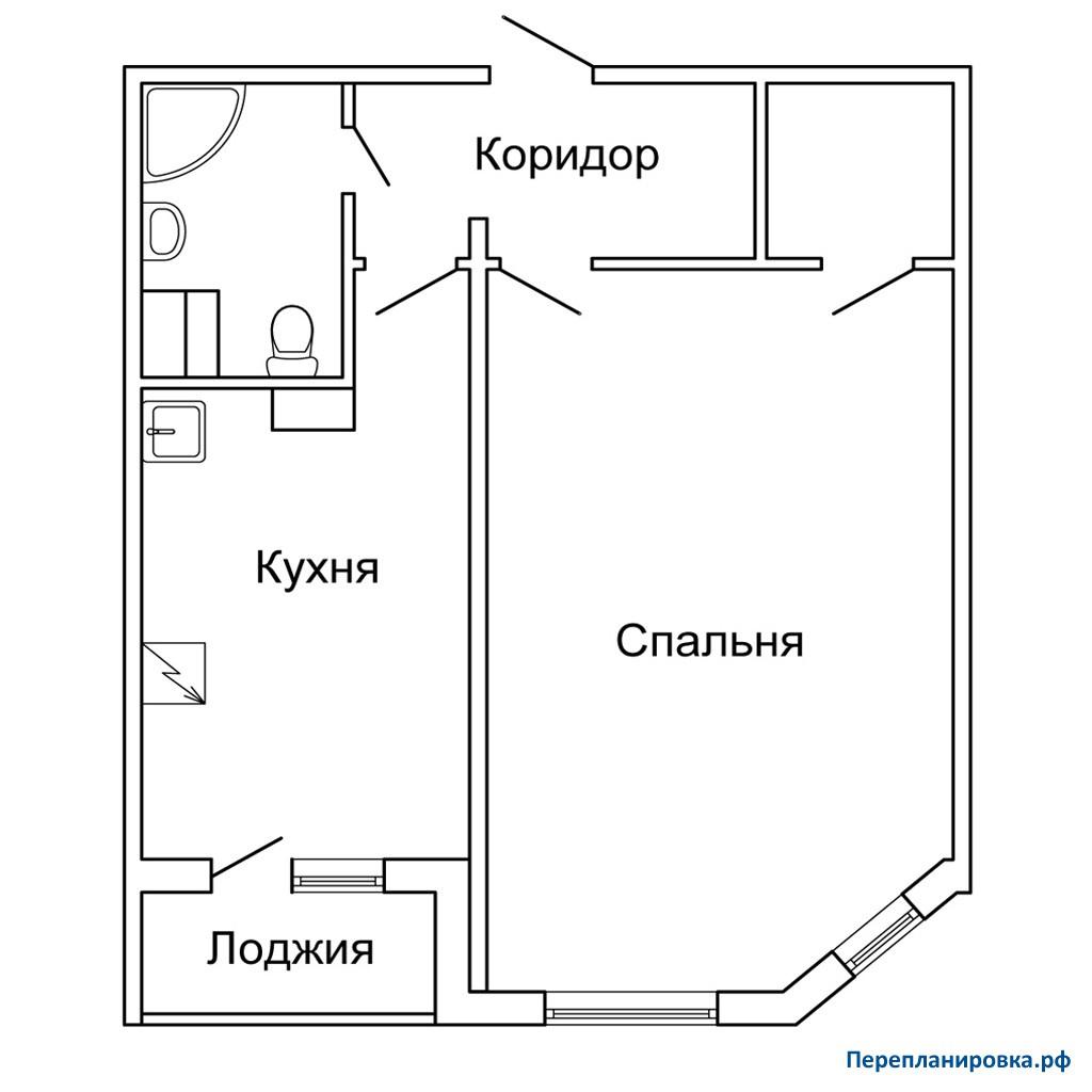 Перепланировка 2 однокомнатной квартиры п-55м, план, фото.