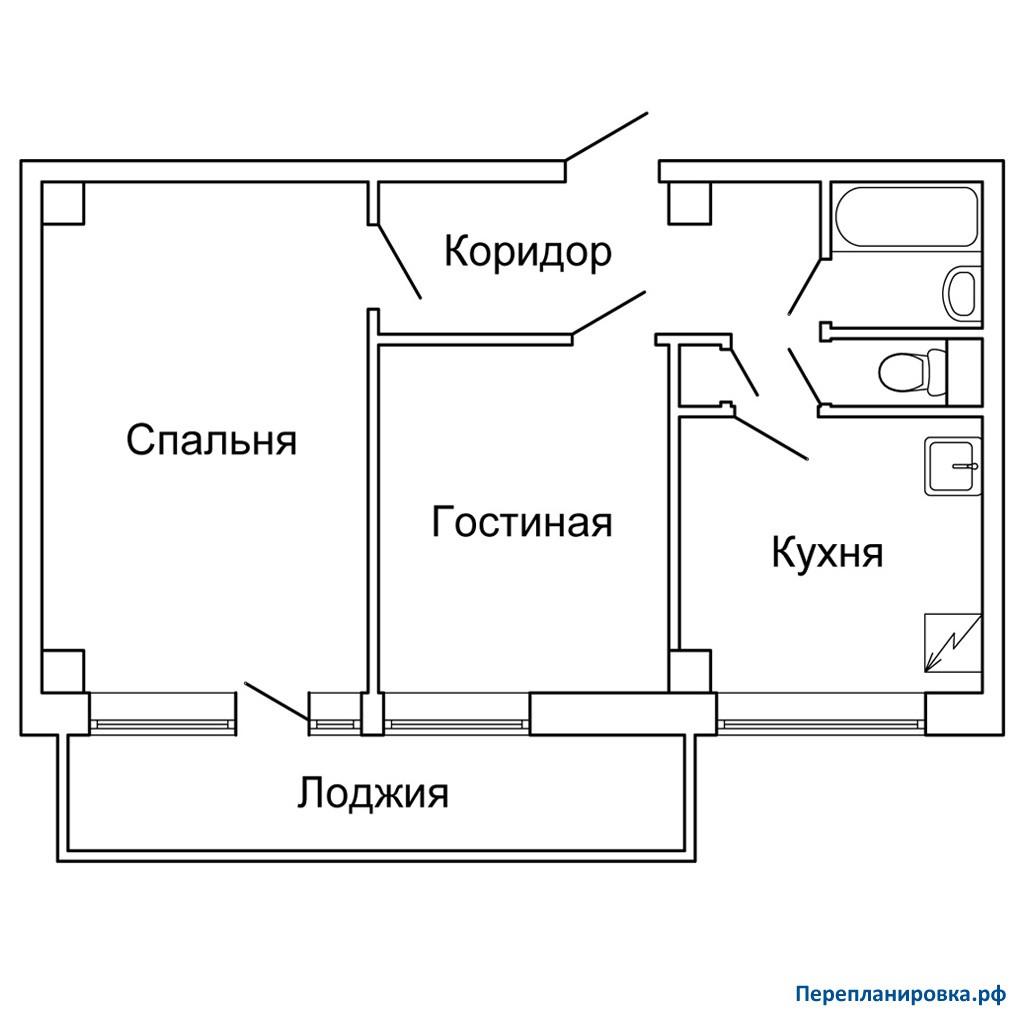 Перепланировка двухкомнатной квартиры мг-601, схема, фото.