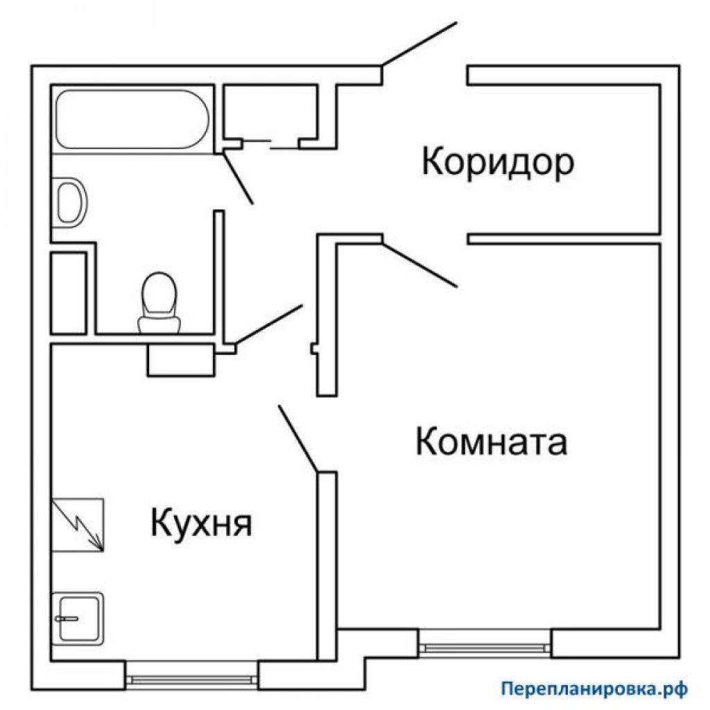 Перепланировка однокомнатной квартиры п-3, план, фото.