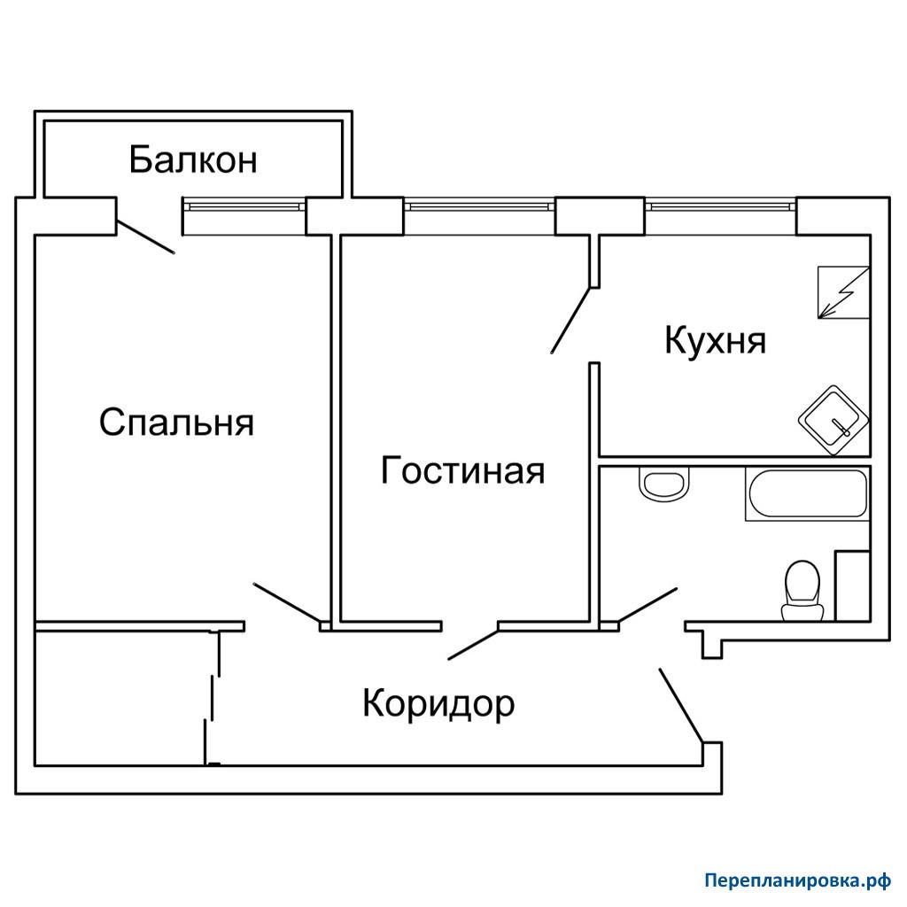 Перепланировка 2 двухкомнатной квартиры 1-515/9м, схема, фот.