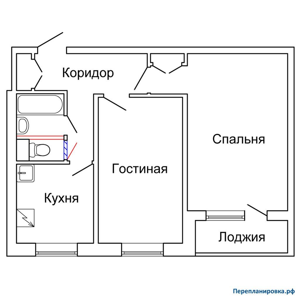 Перепланировка двухкомнатной квартиры ii-49, схема, фото.