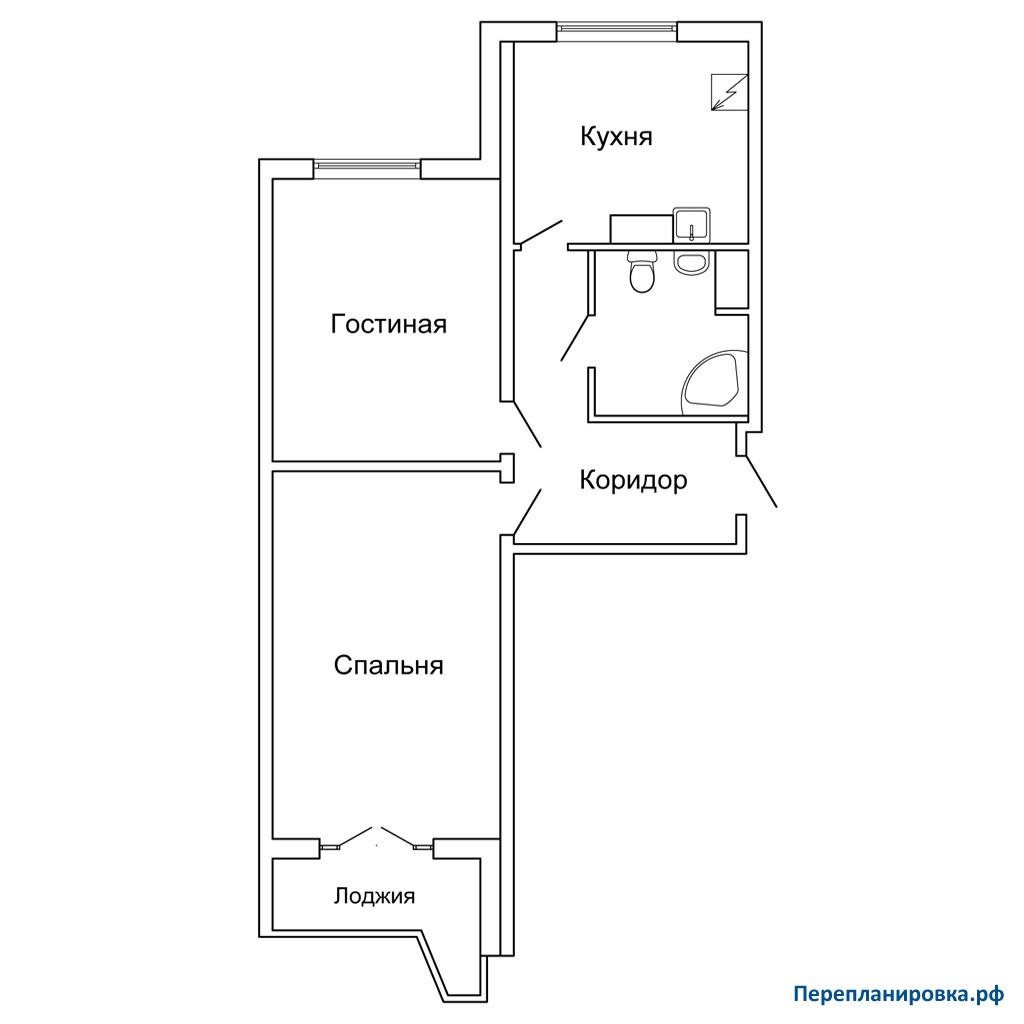 Вариант перепланировки двухкомнатной квартиры дома серии п-4.