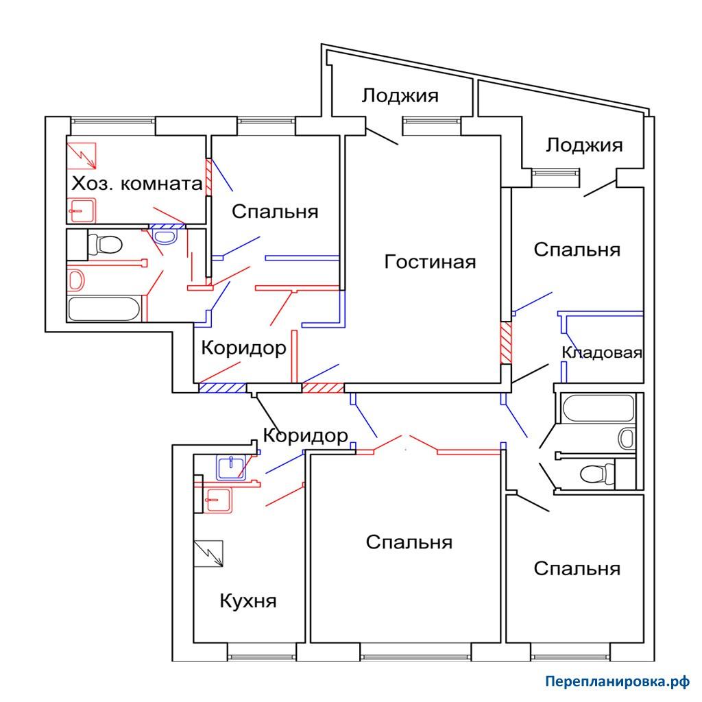 Перепланировка трехкомнатной квартиры 1-515/9ш, план, фото.