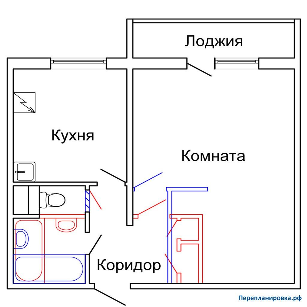 Перепланировка 3 однокомнатной квартиры п-46, план, фото.