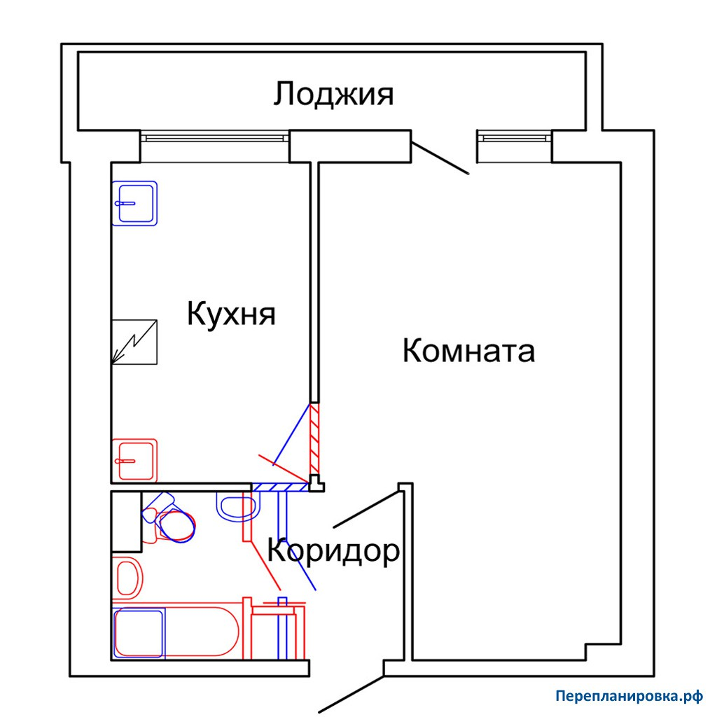 Перепланировка 3 однокомнатной квартиры и-209а, план, фото.