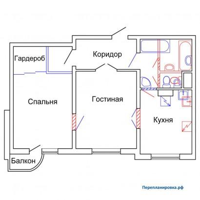 Перепланировка двухкомнатной квартиры п-3м, схема, фото.