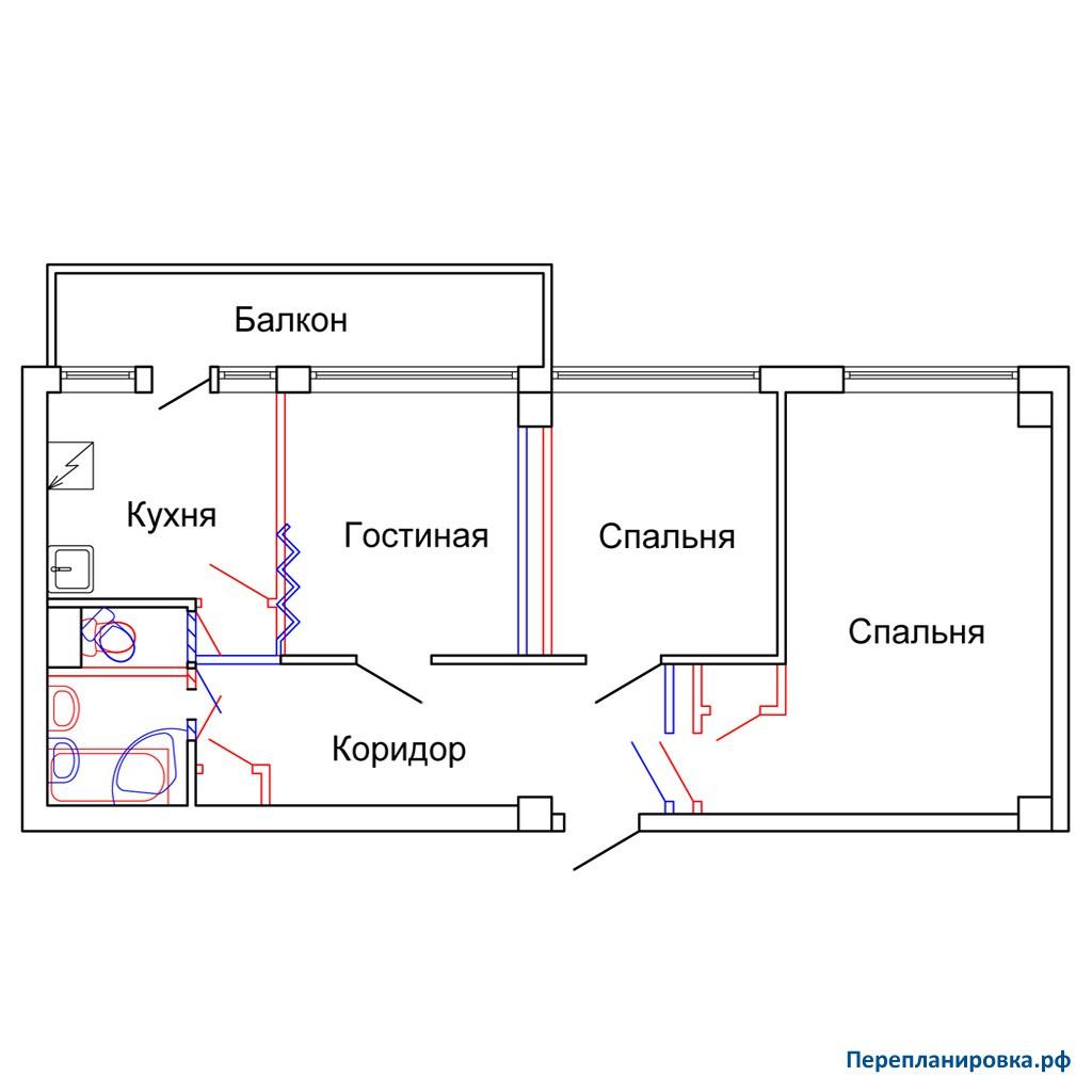 Перепланировка трехкомнатной квартиры мг-601, план, фото.