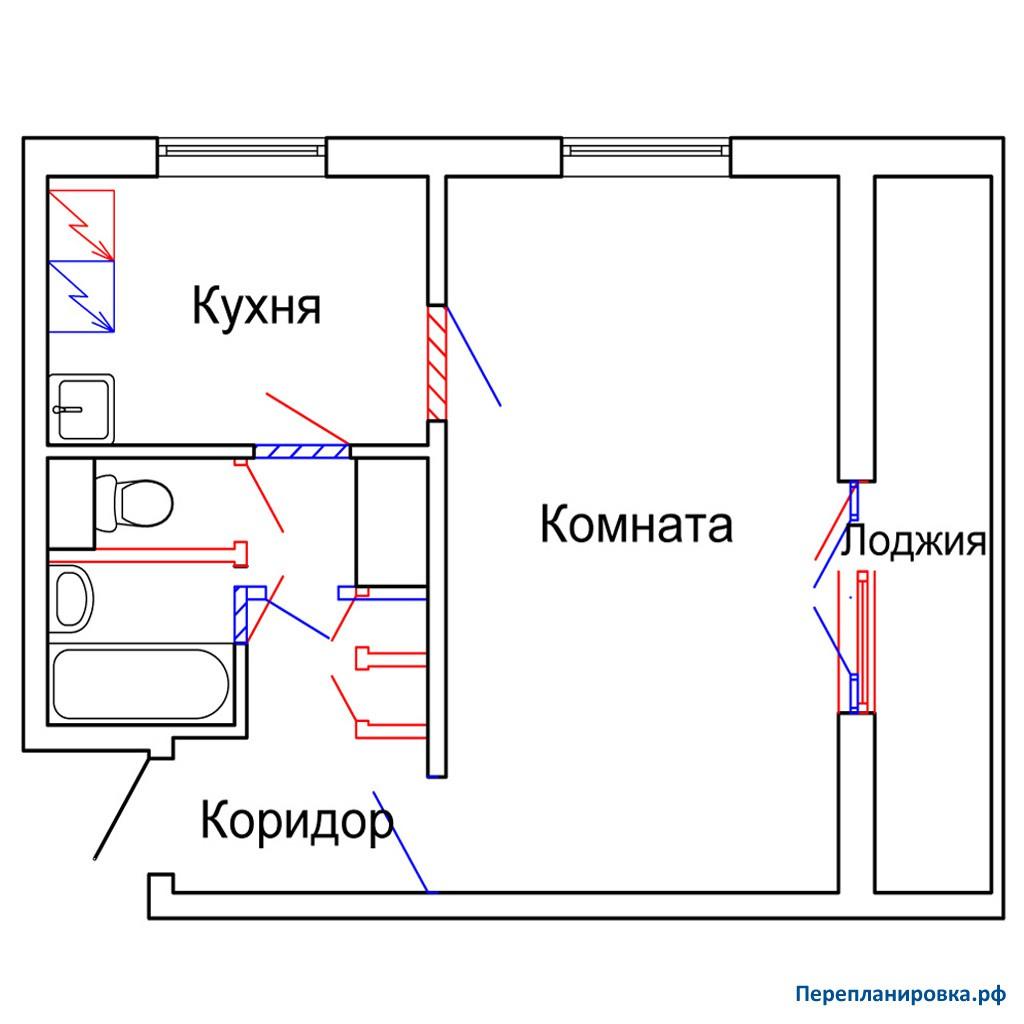 Перепланировка однокомнатной квартиры 1605ам/12, план, фото.