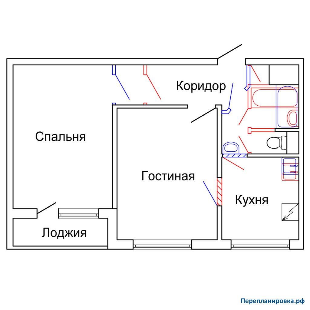 Перепланировка двухкомнатной квартиры 1605ам/12, схема, фото.