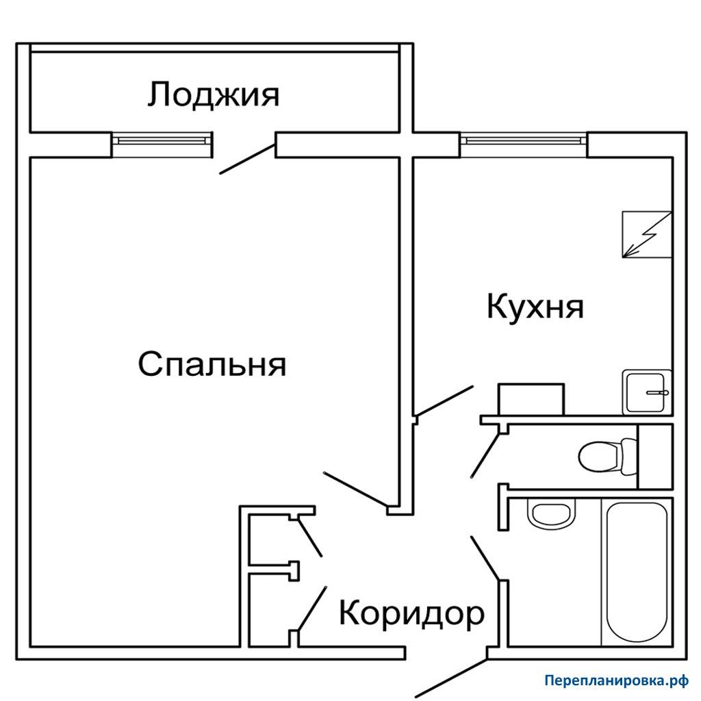 Перепланировка 2 однокомнатной квартиры п-46, план, фото.