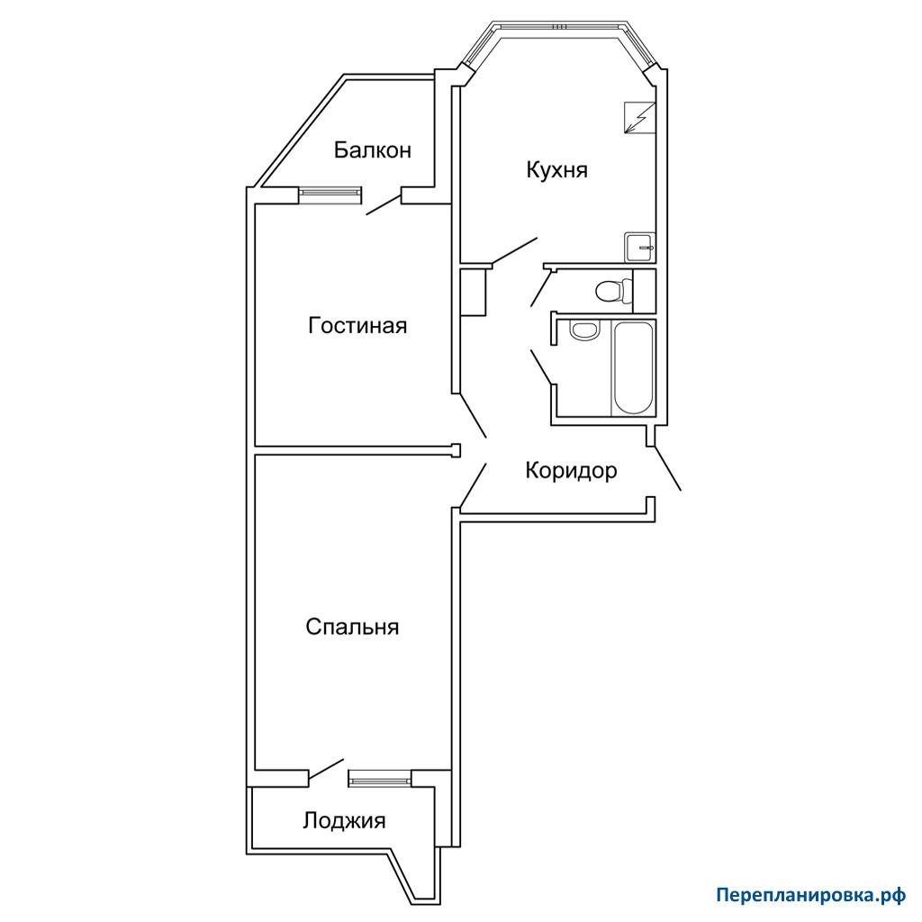 Перепланировка двухкомнатной квартиры п-44т/17, схема, фото.