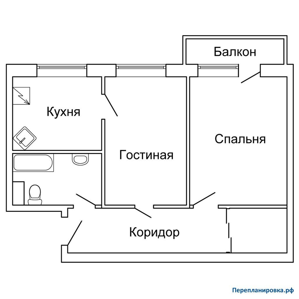 Перепланировка двухкомнатной квартиры 1-515/9м, схема, фото.