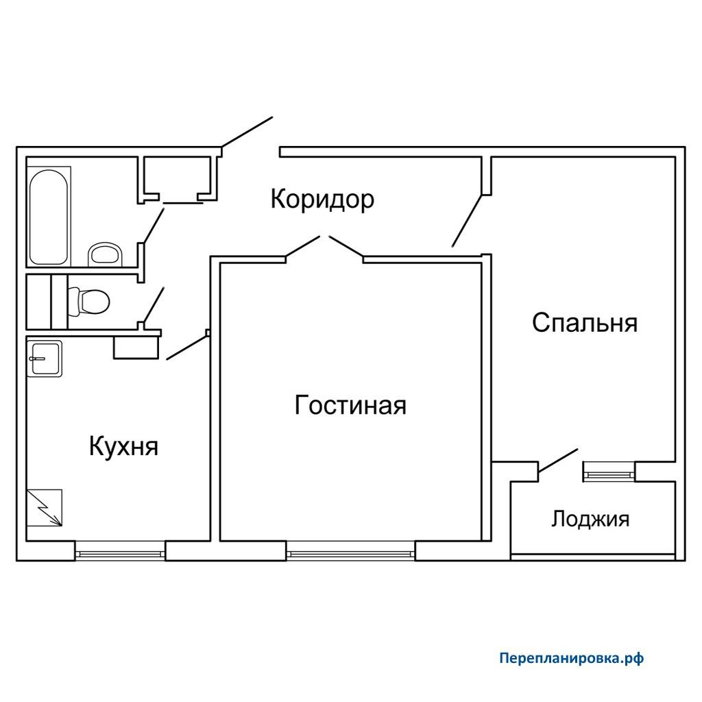 Перепланировка двухкомнатной квартиры п-30, схема, фото.