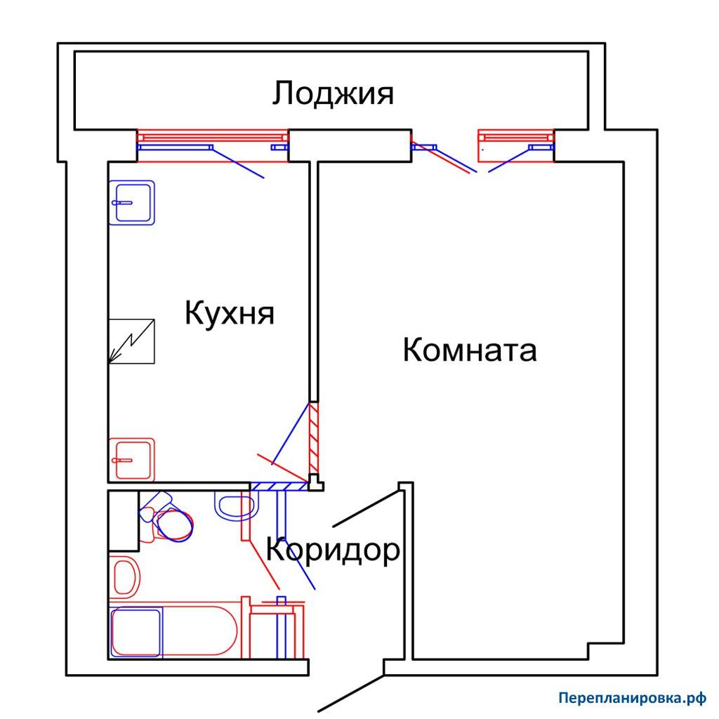Перепланировка однокомнатной квартиры и-209а, план, фото.