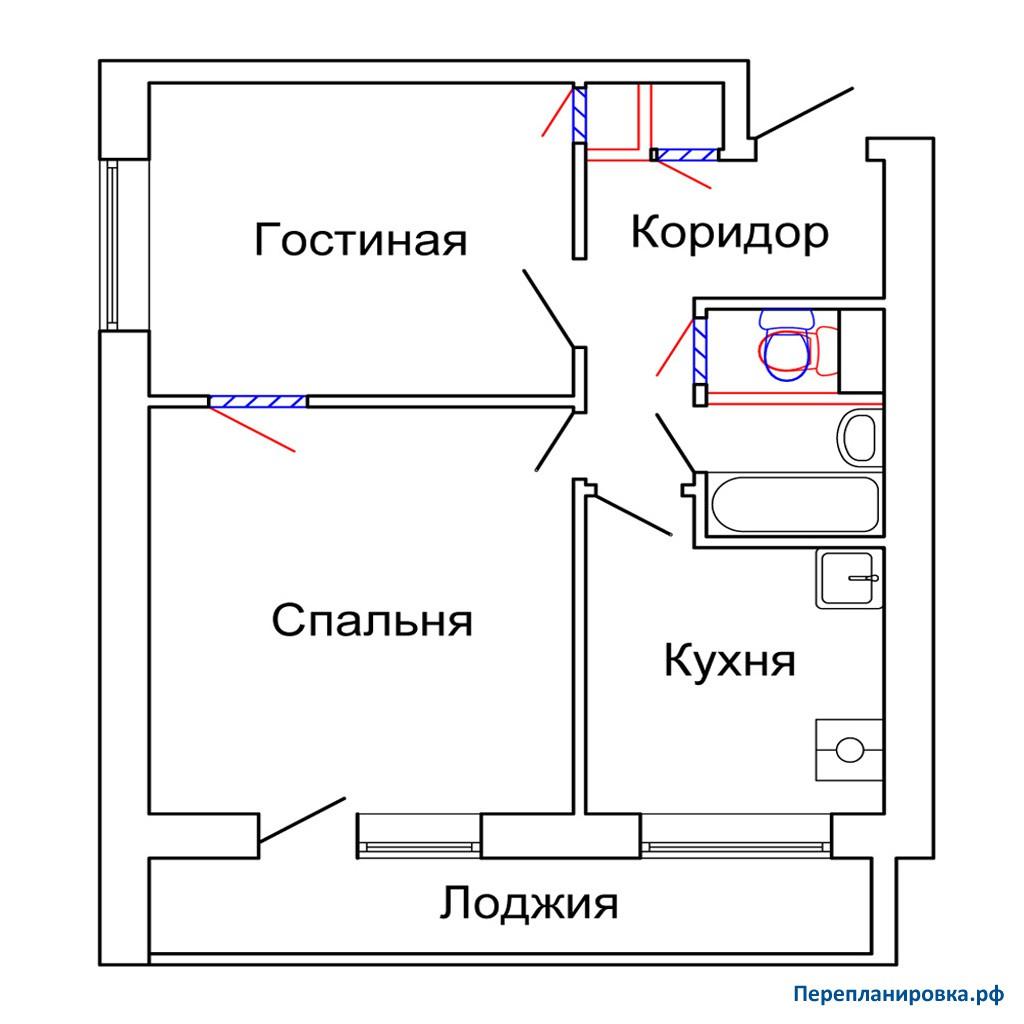 Перепланировка 3 двухкомнатной квартиры и-2096а, схема, фото.