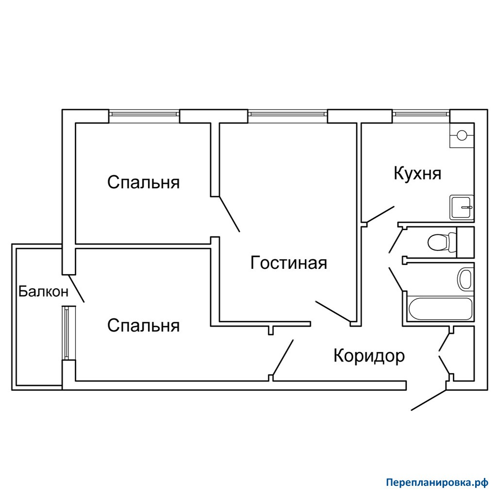 Перепланировка трехкомнатной квартиры ii-49, план, фото.