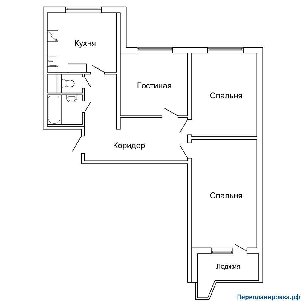 Балкон серии дома п44 трехкомнатной квартиры.