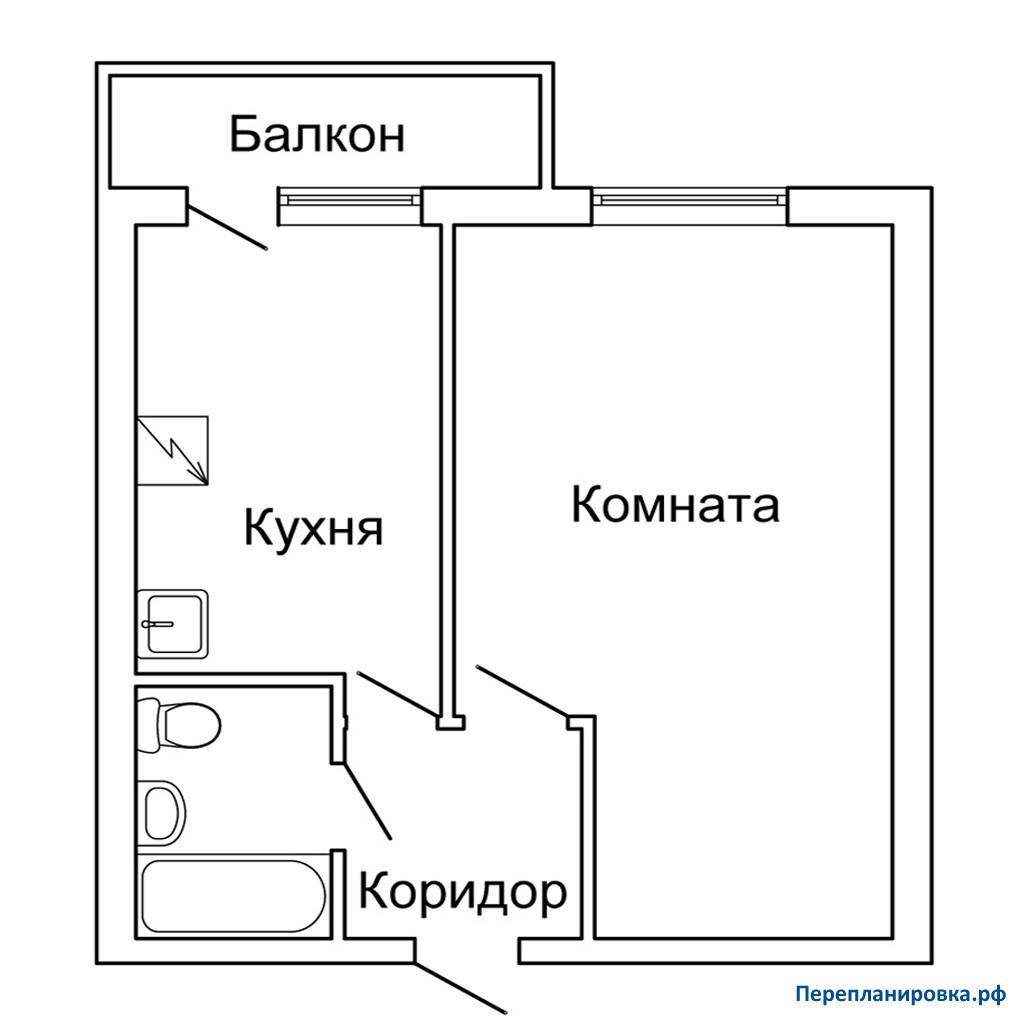 Перепланировка 2 однокомнатной квартиры ii-18, план, фото.