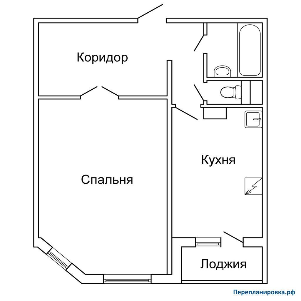 Перепланировка однокомнатной квартиры п-55м, план, фото.