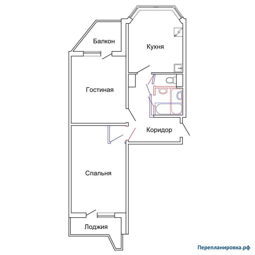 Перепланировка двухкомнатной квартиры п-44т, схема, фото.