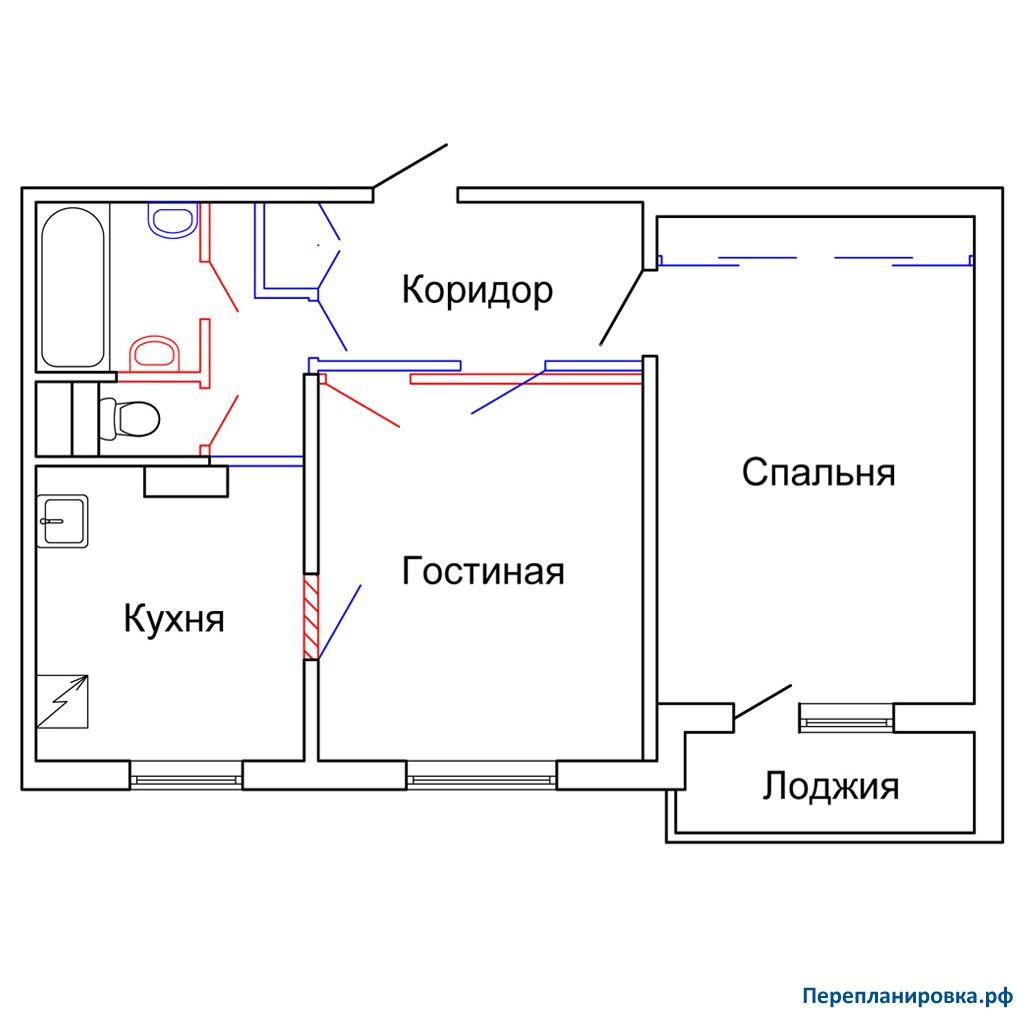 Перепланировка двухкомнатной квартиры п-43, схема, фото.