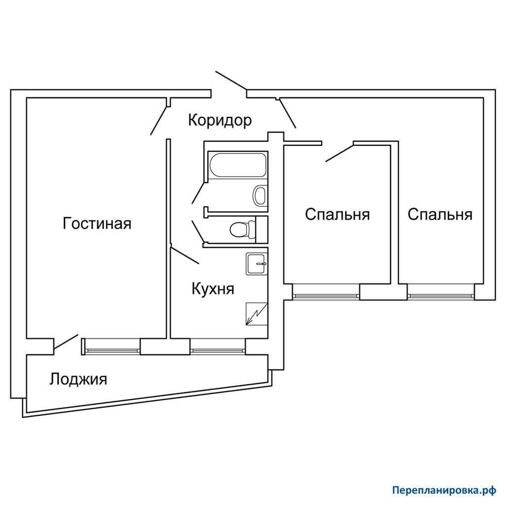 Перепланировка трехкомнатной квартиры ii-68, план, фото.