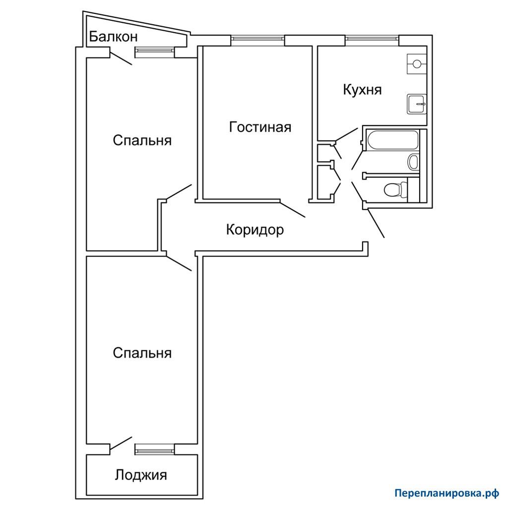 Перепланировка 2 трехкомнатной квартиры ii-57, варианты.