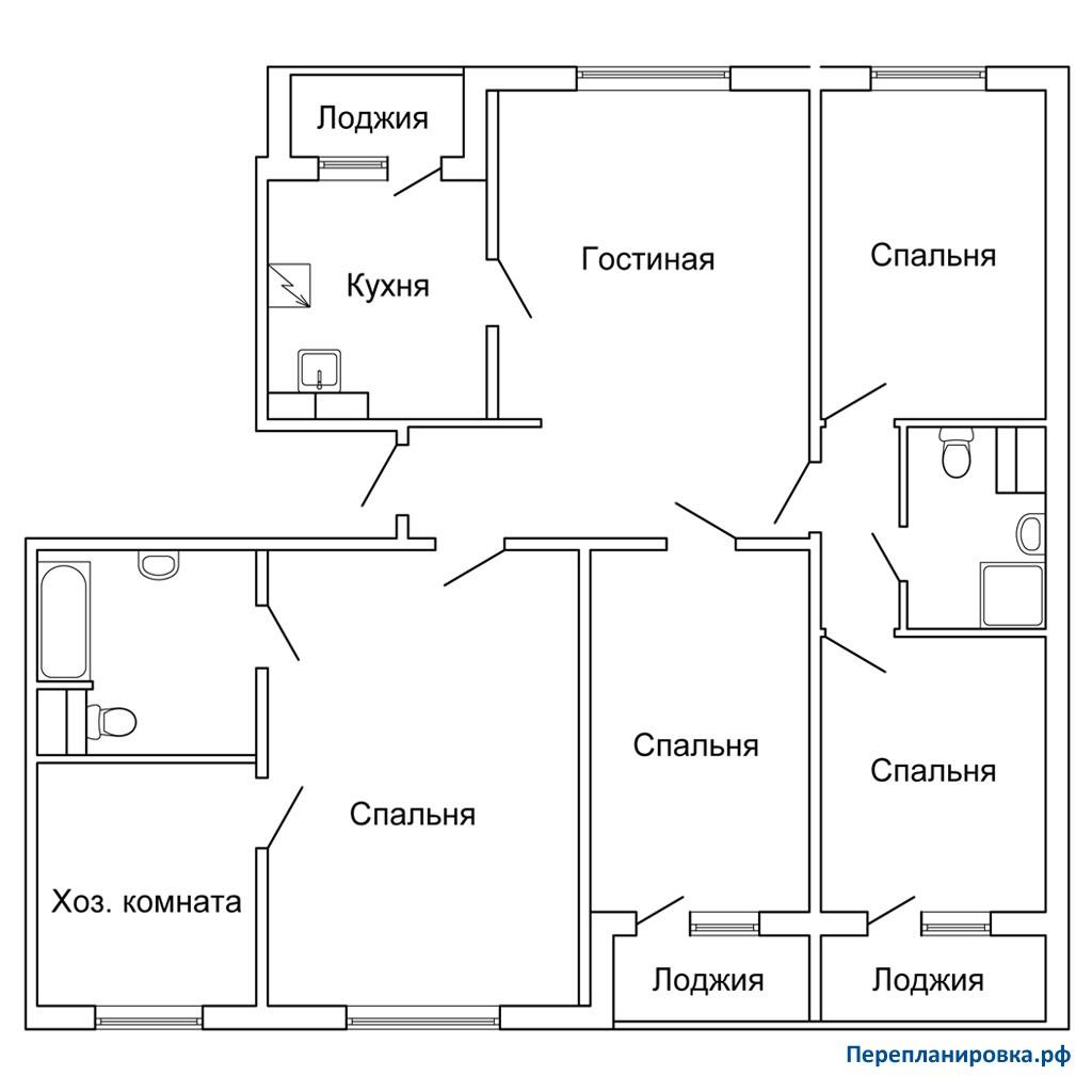 Перепланировка 2 четырехкомнатной квартиры п-30, варианты.