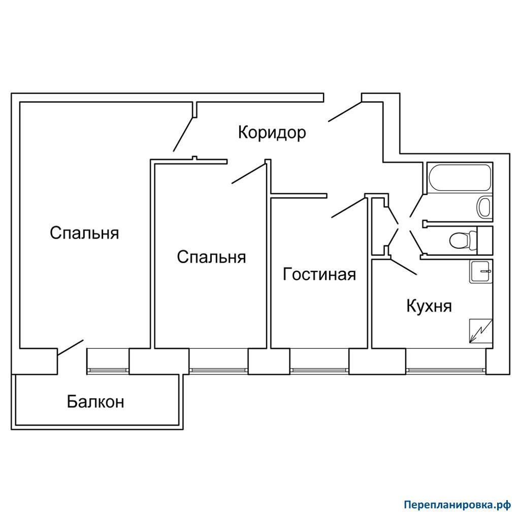Перепланировка трехкомнатной квартиры 1-515/9м, план, фото.