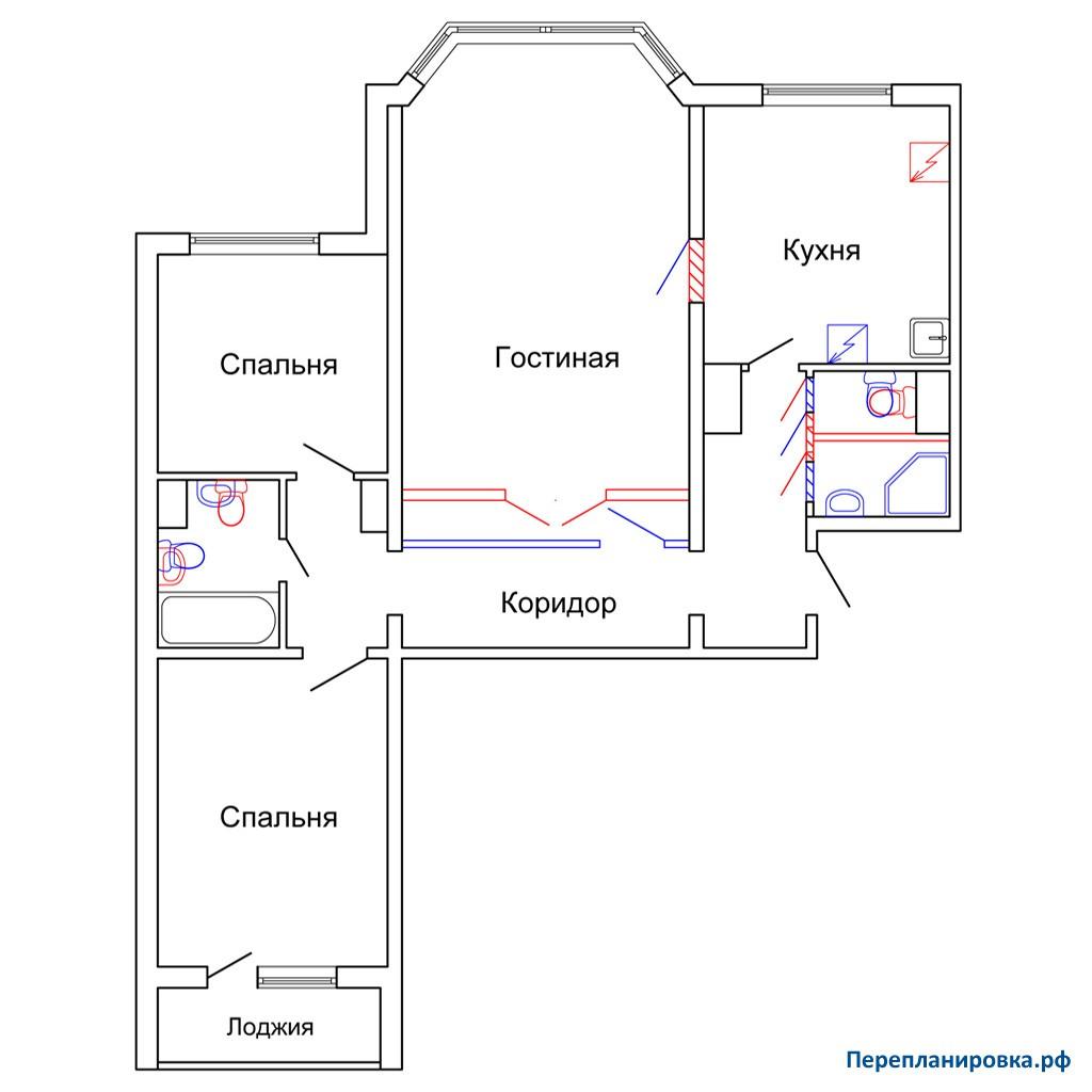Перепланировка трехкомнатной квартиры п-44м, план, фото.