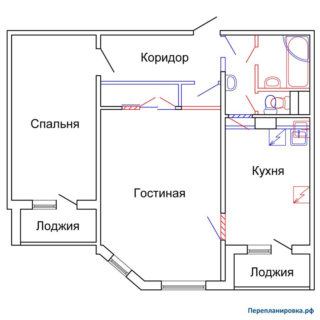Перепланировка двухкомнатной квартиры п-55м, схема, фото.