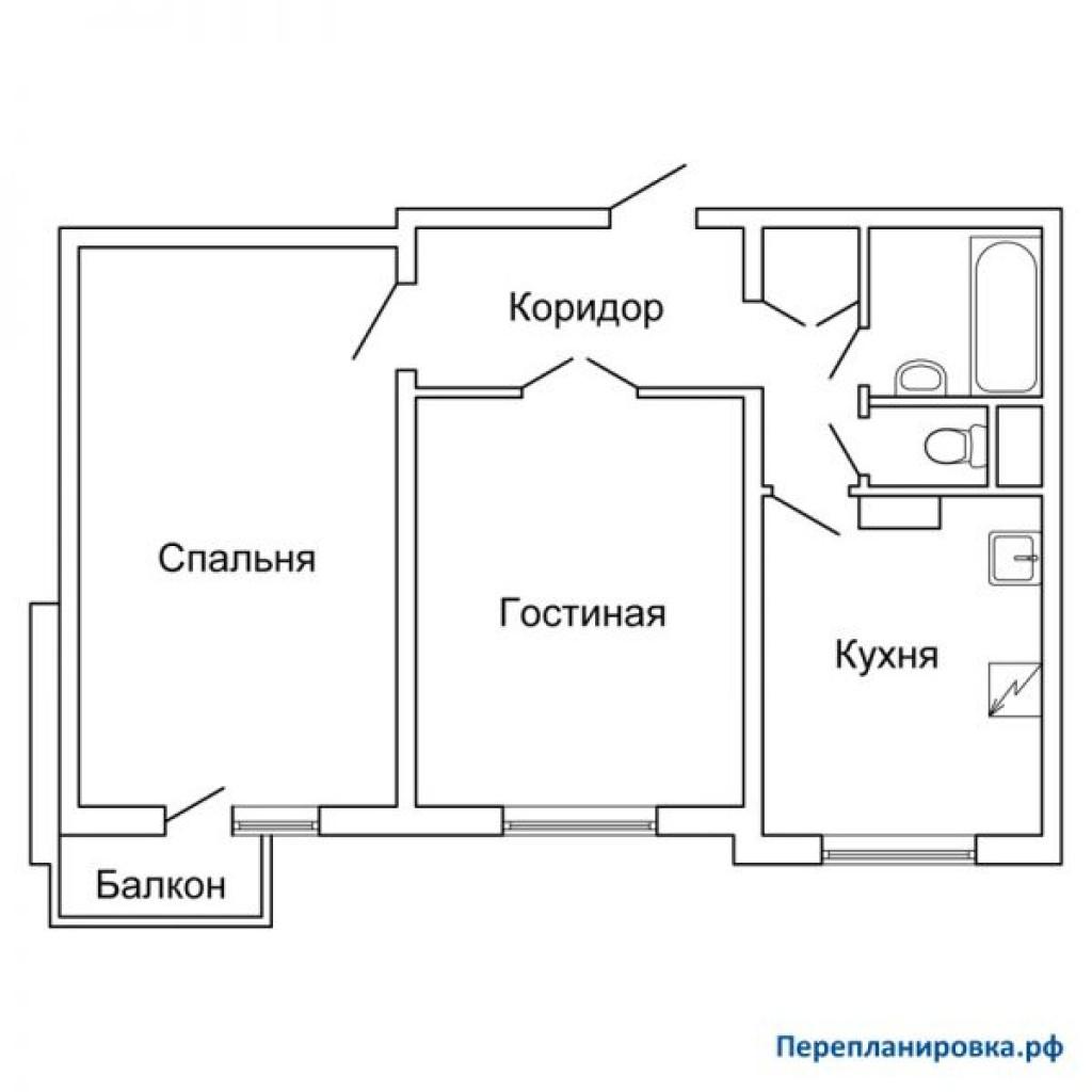 Планировка двухкомнатной квартиры с лоджией..