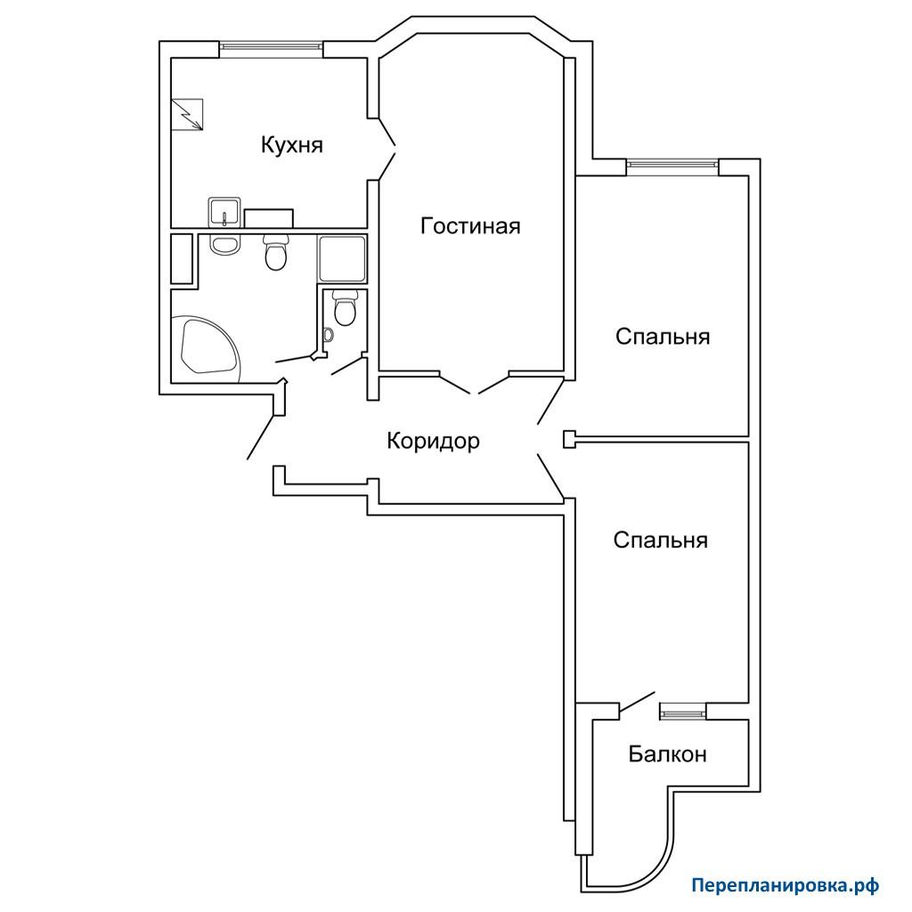 Перепланировка трехкомнатной квартиры (вариант 2) п-3м, схем.